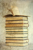 Pile of old books. Vintage photo royalty free stock photos