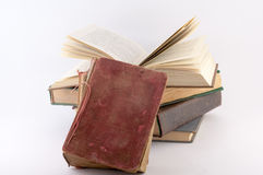 Pile of Old Books. On a white background stock photo