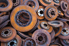 Pile of old brake discs for recycling Royalty Free Stock Photography