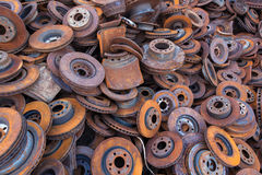 Pile of old brake discs for recycling Royalty Free Stock Photo