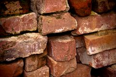 Pile of old bricks Stock Image