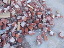 Pile of old bricks and rubble 1 stock photography