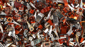 Pile of old broken hard drive heads Royalty Free Stock Image