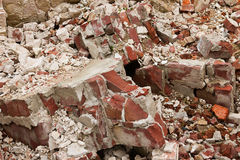 A pile of old broken red bricks Stock Images