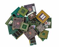 Pile of old burned CPU chips Stock Images