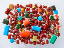 Pile of old capacitors Stock Images