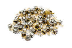 Pile of old capacitors. Electronics group of various types Royalty Free Stock Photography