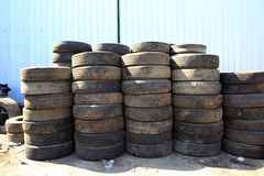 Pile of old. Car tires for rubber recycling royalty free stock photography