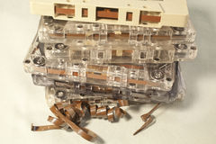 Cassette Tapes. A pile of old cassette tapes Royalty Free Stock Image