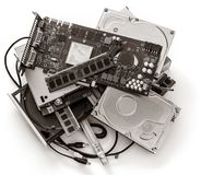 Pile of old computer devises stock photo