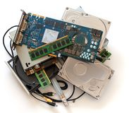 Pile of old computer devises royalty free stock photo