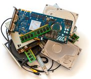 Pile of old computer devises. Moral obsolete equipment royalty free stock photo