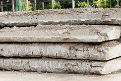 Pile of old concrete slabs used in construction Stock Photo