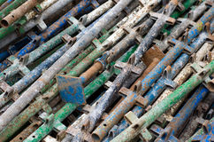 Pile of old constrution scaffold Stock Image