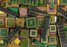 Pile of old CPU chips, obsolete computer processors and memory modules Royalty Free Stock Image