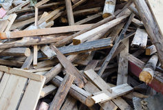 Pile of old and dirty lumber Royalty Free Stock Photos
