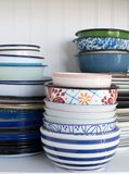 Pile of old dishes royalty free stock image