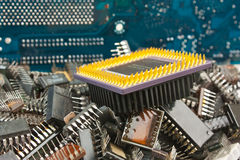 Pile old electronic chip Stock Images
