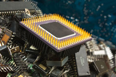 Pile old electronic chip Stock Photo