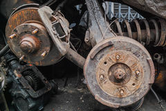 Pile of old engine parts. Pile of a lot of used old engine parts for sale in soi of Bangkok downtown, Thailand royalty free stock photography