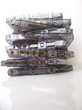 A pile of old fashioned cassette tapes Stock Photo