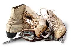 Pile of old female skates Royalty Free Stock Images
