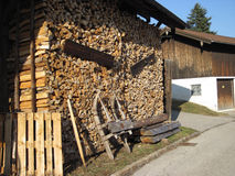 Pile of old firewood for the fireplace Royalty Free Stock Image