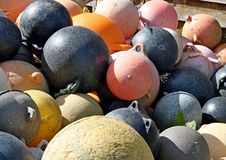Pile of old fishing floats Royalty Free Stock Photos