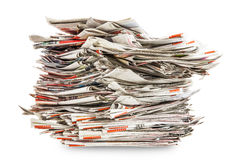 Pile of old folding newspapers Stock Image