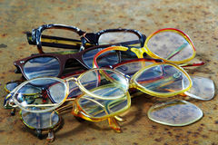 Pile of old glasses. Stock Photo