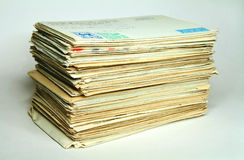 Pile of old letters. In post envelopes, as a symbol of memoirs and time Stock Photography