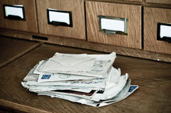 Pile of old letters. In an archive or library Stock Image