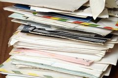 Pile of old letters. Stack of vintage mails and envelopes Stock Images