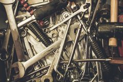 Pile of Old Metal Wrenches. Toolbox Tools Closeup Photo Stock Photos