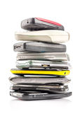 Pile of old mobile phones Stock Photo