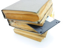Pile from old mouldy books. On a white background Royalty Free Stock Photo