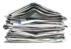 Pile of old newspapers Royalty Free Stock Image