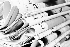 Pile of old newspapers Royalty Free Stock Images