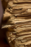 Pile of old newspapers on the shelf Royalty Free Stock Photography