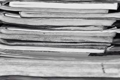 Pile of old notebooks, black and white photo royalty free stock photo
