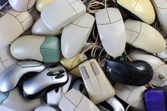 Pile of old and obsolete computer mice Royalty Free Stock Image