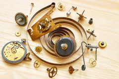 Pile of the old parts of clocks Royalty Free Stock Photo