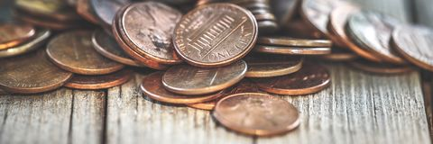 Pile Of Old Pennies royalty free stock photo