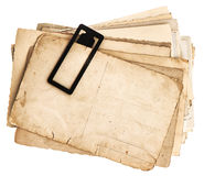 Pile of old postcards isolated on white Royalty Free Stock Images
