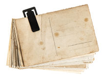 Pile of old postcards isolated on white background Royalty Free Stock Photos