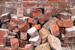 Pile of Old Red Bricks Stock Images