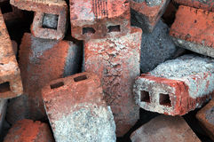 Pile of Old Red Briks royalty free stock photo