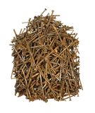 Pile of old rusty nails of various sizes isolated on white backg. Round Royalty Free Stock Photography