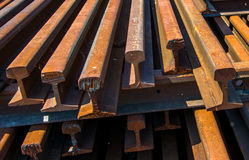 Pile Of Old Rusty Rails Stock Photography