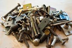 Pile of old screws Stock Photos